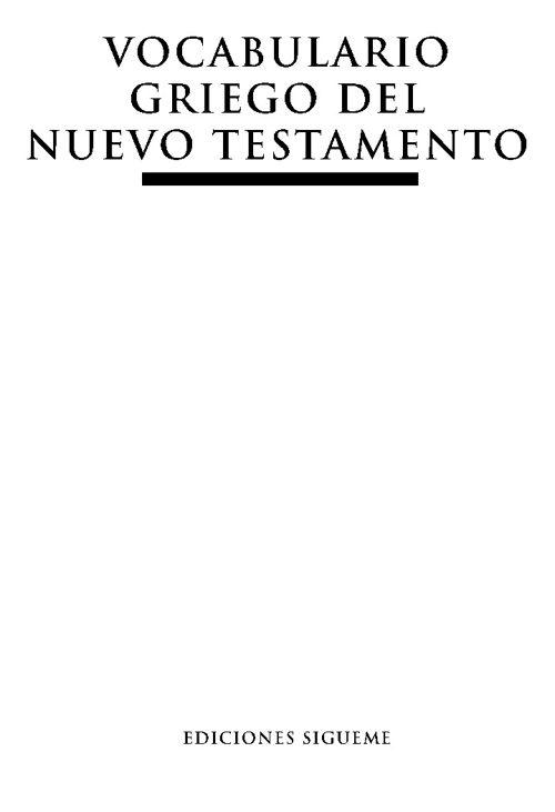 Vocabulario Griego del Nuevo Testamento - Ediciones Sigueme