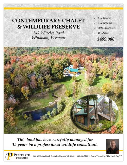 Contemporary Chalet and Wildlife Preserve, Windham, VT