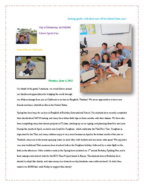 Berkeley Grade 3 May ePal Letters
