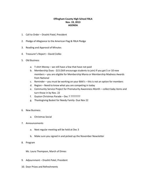 November 19 Minutes & Agenda
