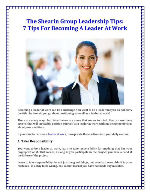 7 Tips For Becoming A Leader At Work