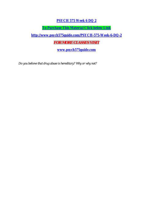 PSYCH 575 Week 6 DQ 2