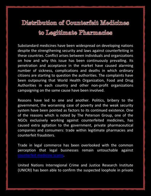 Distribution of Counterfeit Medicines to Legitimate Pharmacies