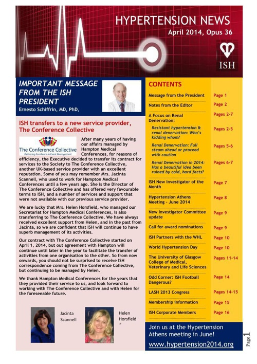 ISH Hypertension News - April 2014