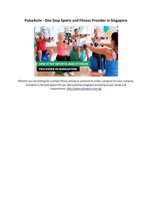 PulseActiv - One Stop Sports and Fitness Provider in Singapore