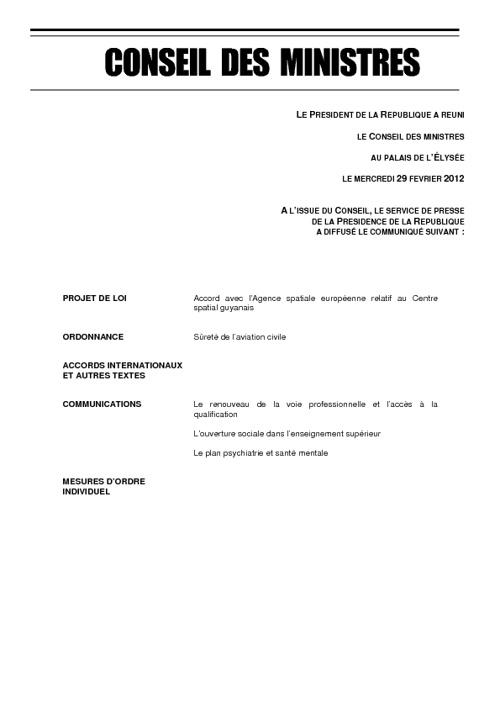 Conseil des ministres en France