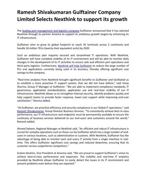 Ramesh Shivakumaran Gulftainer Company Limited Selects Nexthink