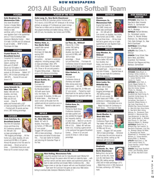 NOW All-Suburban Softball Teams