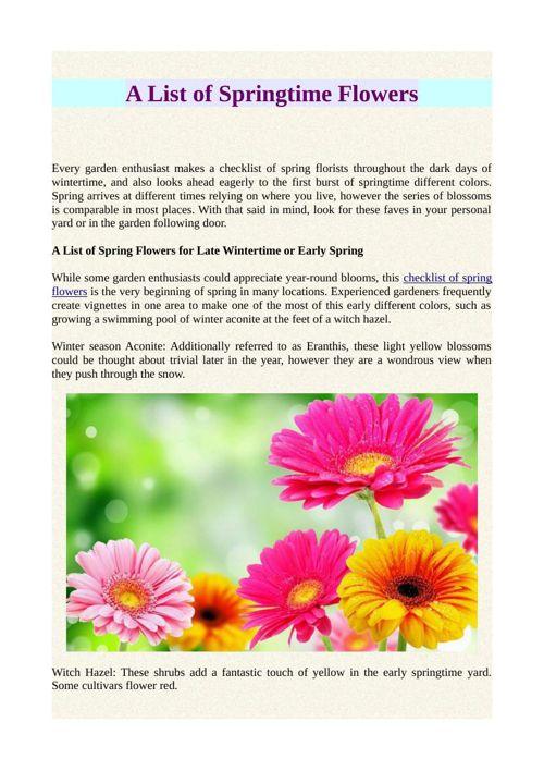 A List of Springtime Flowers