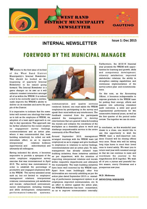 Internal Newsletter Issue 1