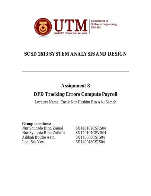SCSD2613 Assignment 8 - DFD Tracking Errors Compute Payroll