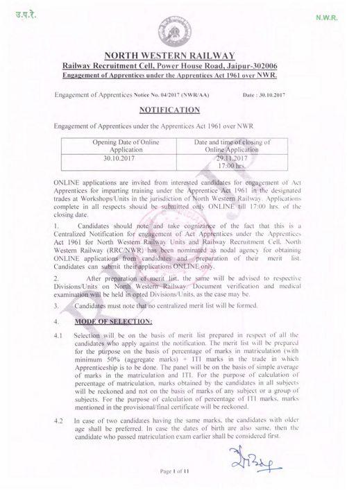 RRC_Jaipur_Notification_Detaits