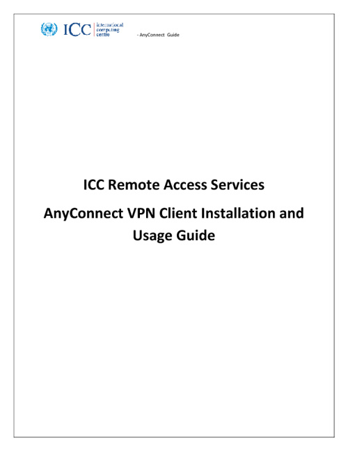 Cisco Any Connect Installation Guide