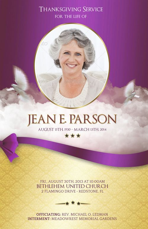 Pink Ribbon Funeral Program Publisher Template V1
