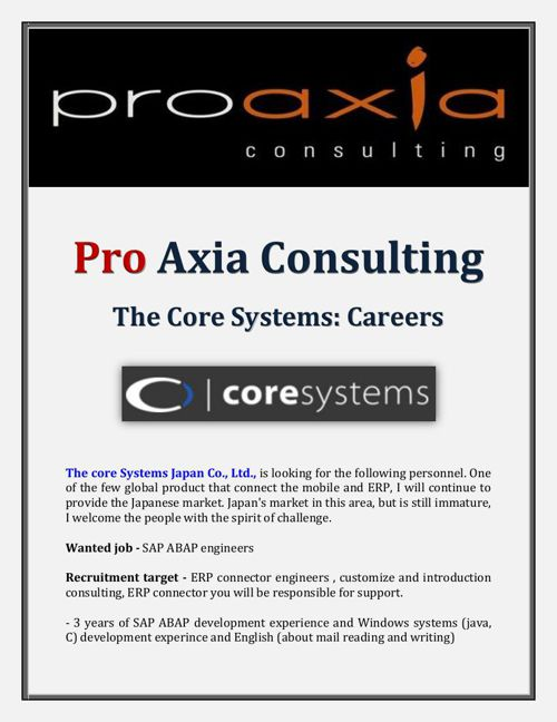 Pro Axia Consulting - The Core Systems: Careers