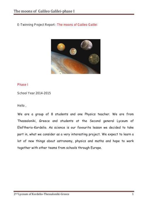 Moons Galileo phase I