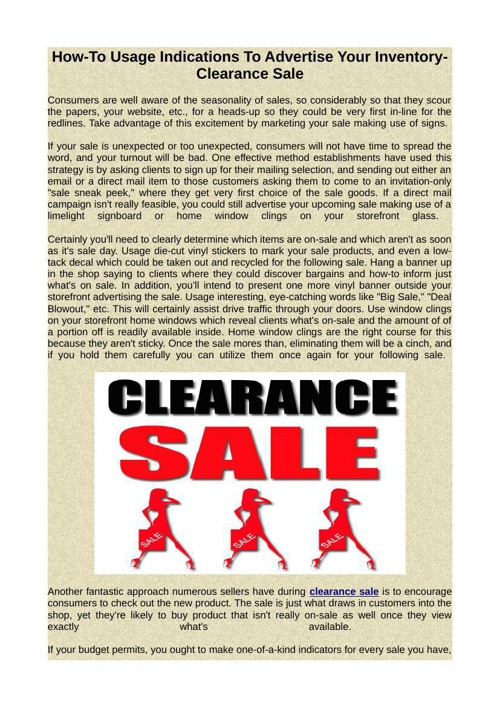 How-To Usage Indications To Advertise Your Inventory-clearance s