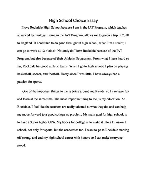 High School Choice Essay