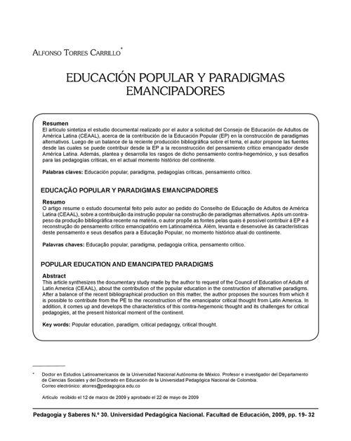Educación popular y paradigmas emancipadores