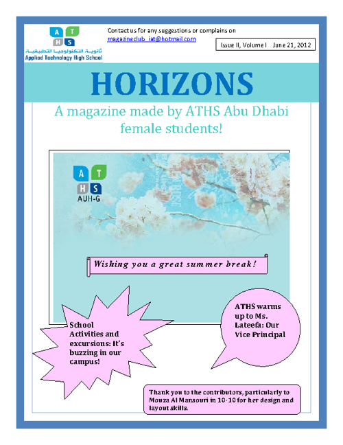 ATHS Horizons Issue 2 AY 2011/2012