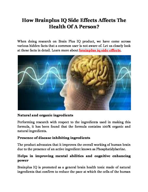 How Brainplus IQ Side Effects Affects The Health Of A Person?