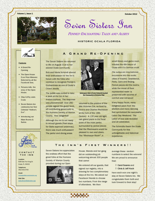 Seven Sisters Inn 10/12 Newsletter