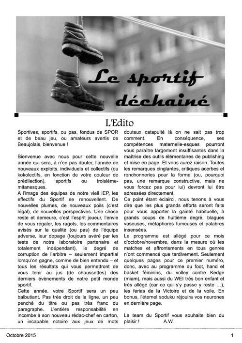 Le Sportif Déchaîné // Octobre 2015