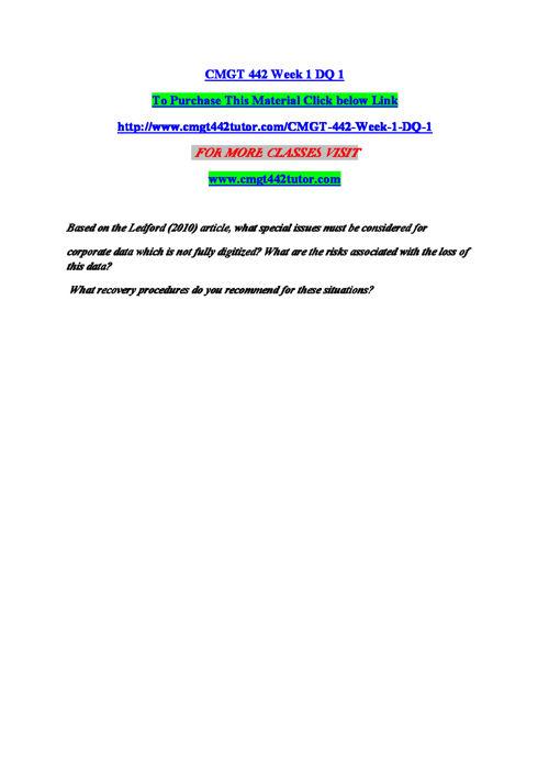 CMGT 442 Entire Course