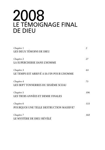 2008 LE TEMOIGNAGE FINAL DE DIEU