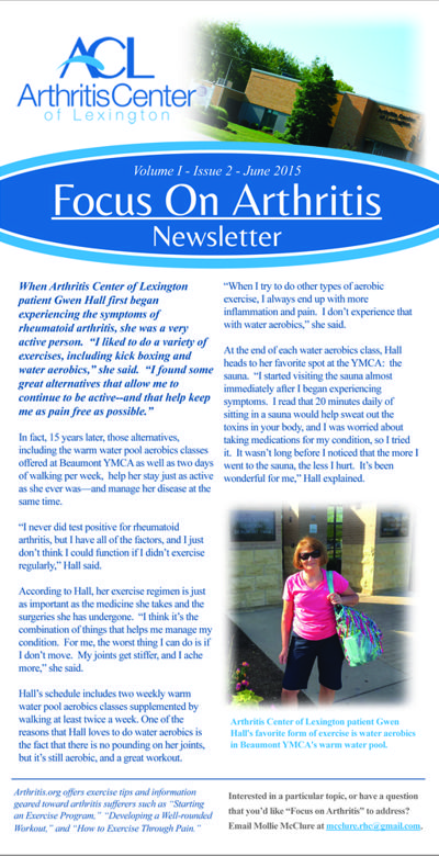 Focus On Arthritis Newsletter Design 2015