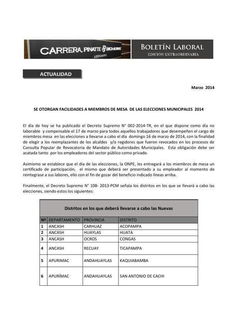 Boletín Extraordinario  - NUEVAS ELCCIONES MUNICIPALES
