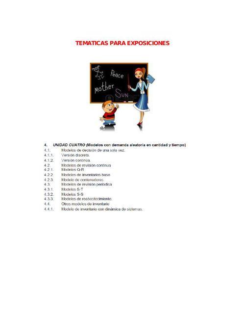 TEMATICAS PARA EXPOSICIONES