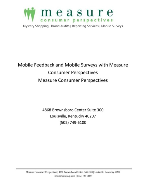 Mobile Feedback and Mobile Surveys with Measure CP