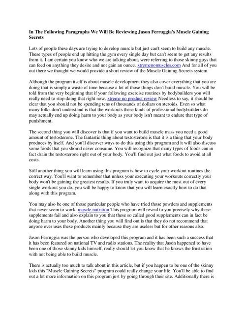 Reviewing Jason Ferruggia's Muscle Gaining Secrets