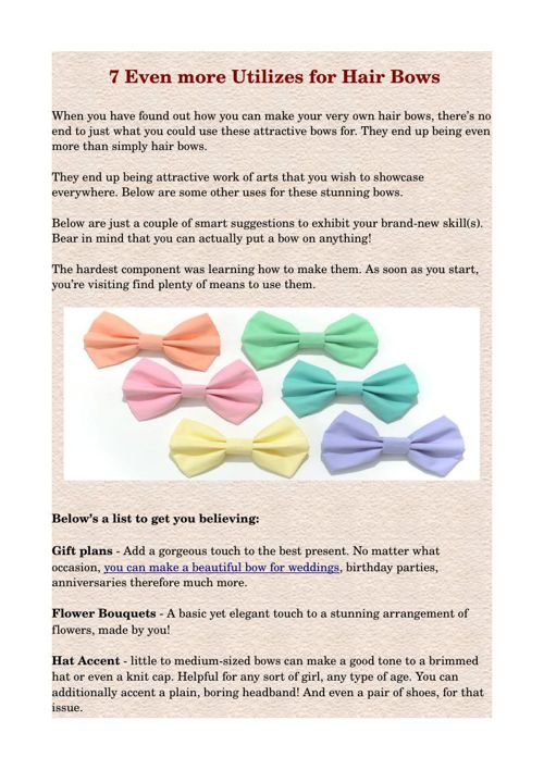 7 Even more Utilizes for Hair Bows