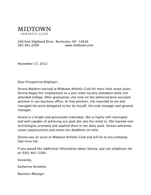 Midtown Letter of Recommendation