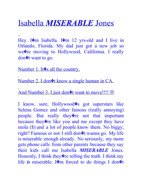Isabella Miserable Jones