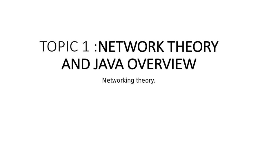 TOPIC 1 - Networking Theory
