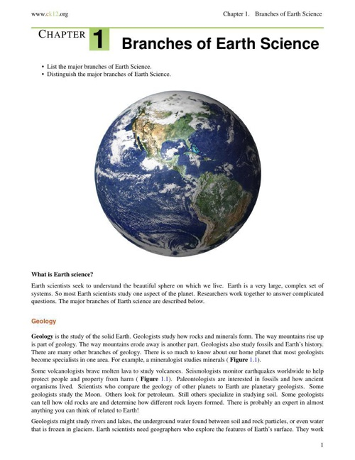 Sect. 1.1 - Branches of Earth Science