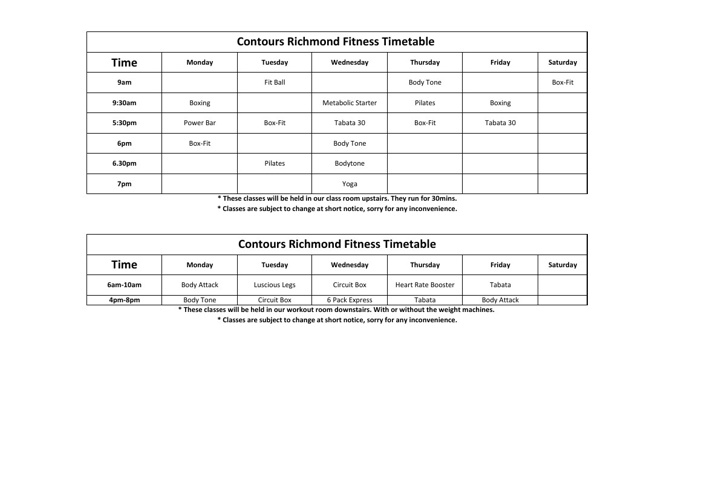 Contours Richmond February 2013 Timetable