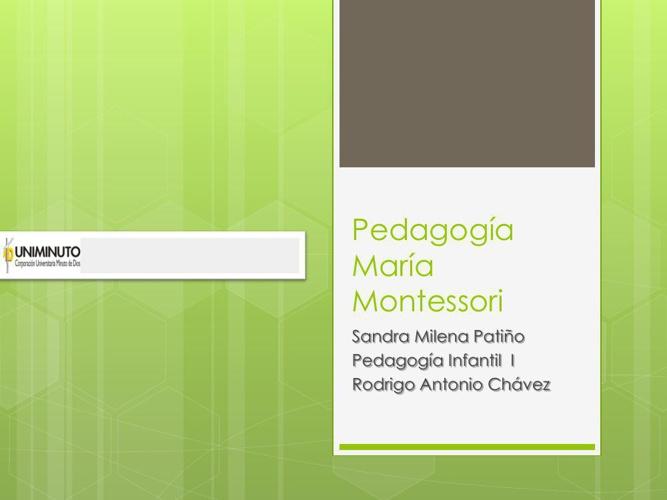 Pedagogía María Montessori