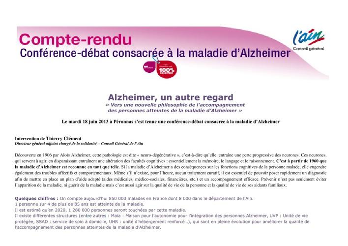 Compte rendu de la conférence débat sur la maladie d'Alzheimer