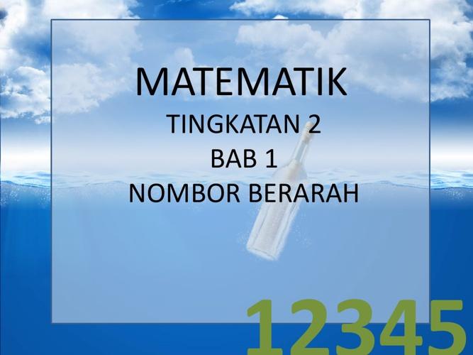 MATEMATIK TINGKATAN 2 BAB 1