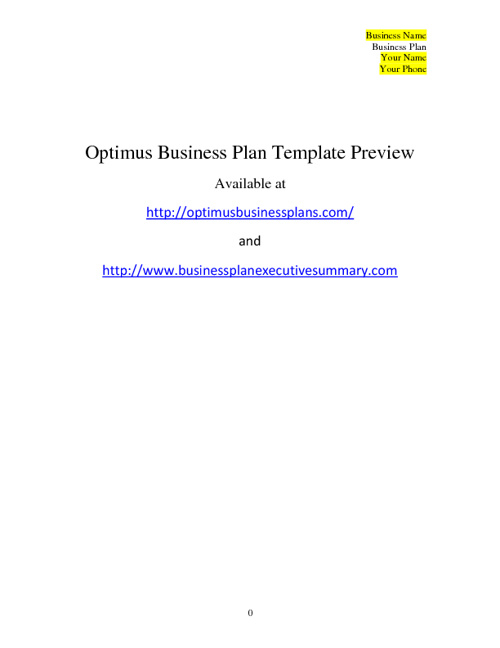Business Plan Template - Optimus Business Plans