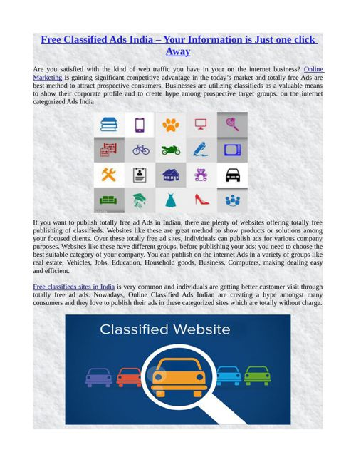 Free Classified Ads India – Your Information is Just one click A