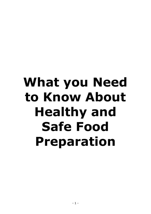What You Need to Know about Healthy & Safe Food Preparation