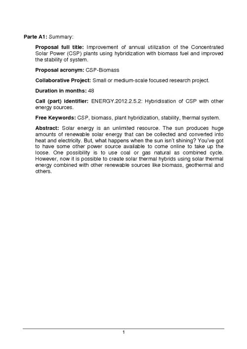 Ejemplo de propuesta para convocatoria ENERGY.2012.2