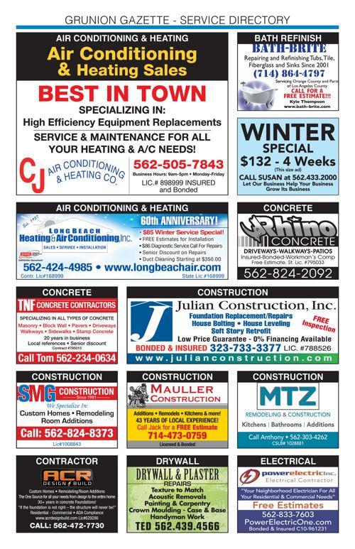 Service Directory | January 4, 2018