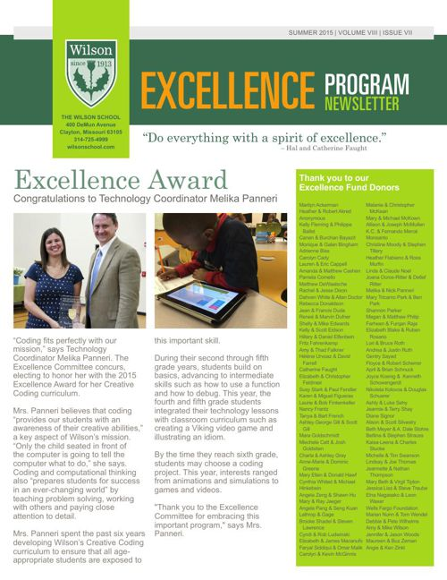 Summer 2015 Excellence Newsletter