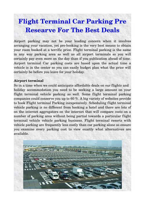 Flight Terminal Car Parking Pre Researve For The Best Deals